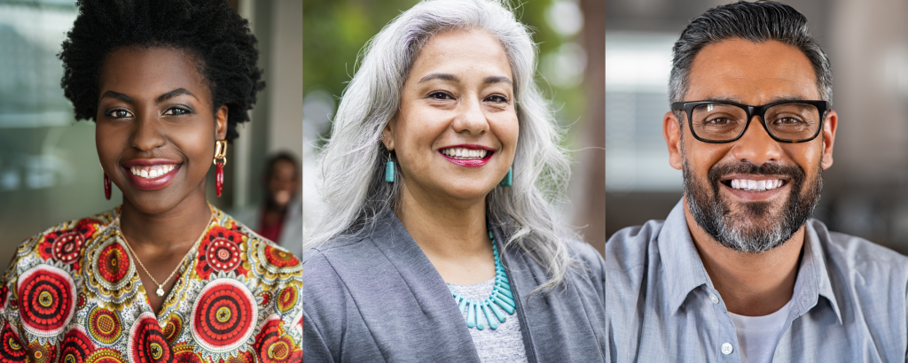 Three images. The first (left) image is a young Black woman wearing a colorful shirt in a conference room. Second (middle) is an Indigenous woman wearing a gray blazer and turquoise necklace smiling at the camera. Third (right) image is an Indian man in the light blue collared shirt, smiling at the camera.